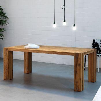 Base, una mesa de estilo rústico con 4 troncos que se abren hacia el suelo
