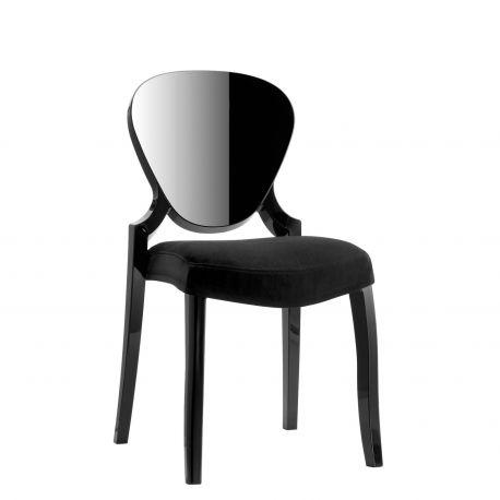 Silla de diseño Queen de Pedrali en negro con cojín negro
