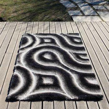 Alfombra moderna 3D Curves gris