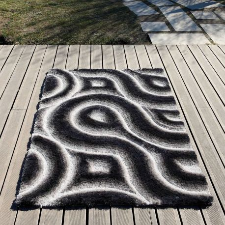 Alfombra moderna 3D Curves gris Carving