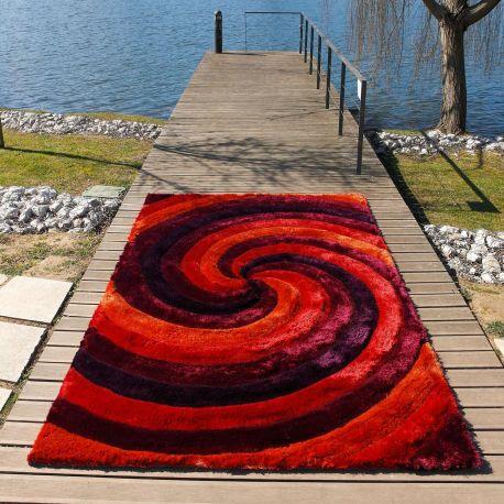 Alfombra moderna 3D Ciclone roja Carving