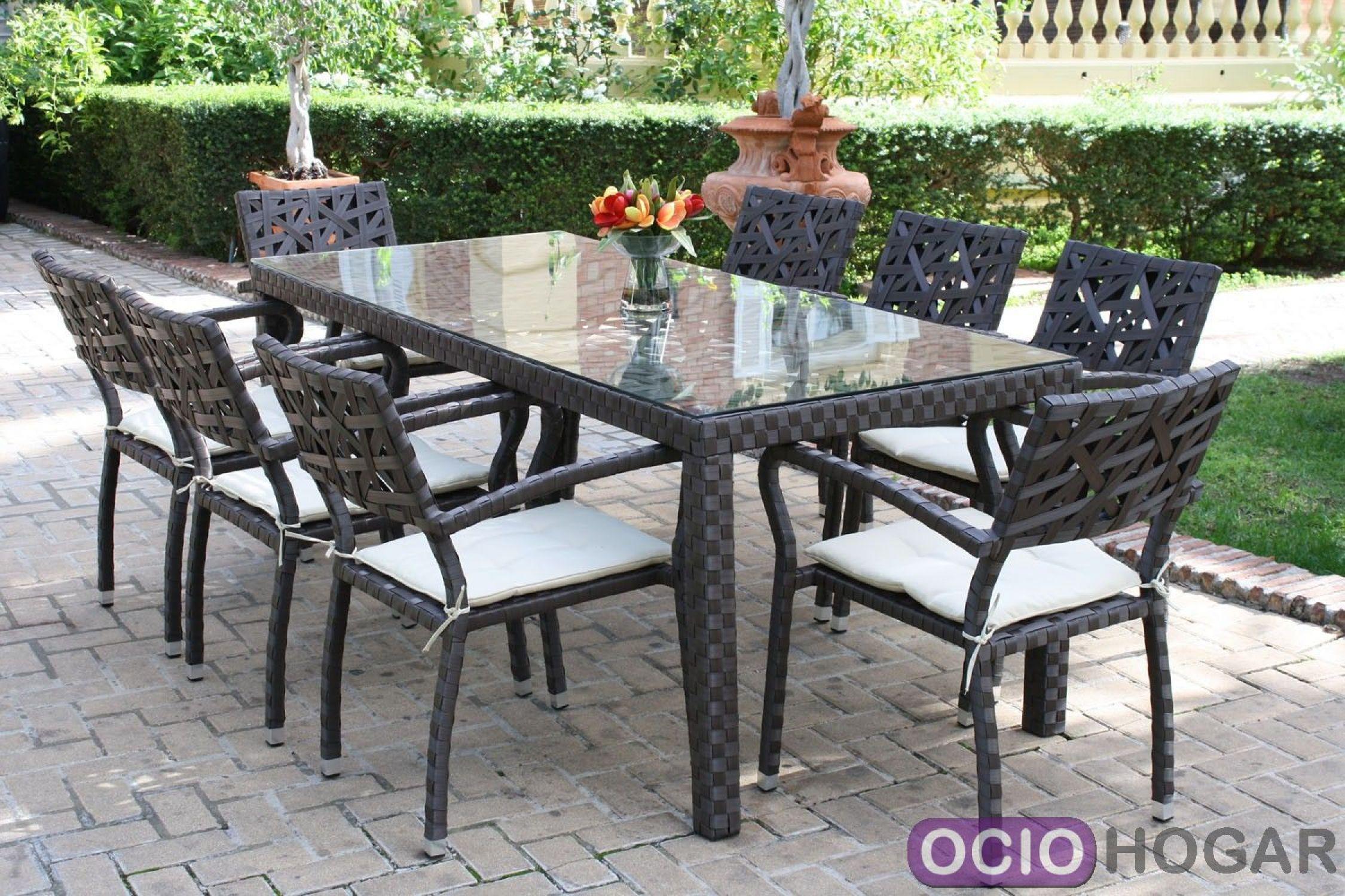 Conjunto de jardin mesa y 4 sillones en aluminio con for Ondarreta mesas y sillas