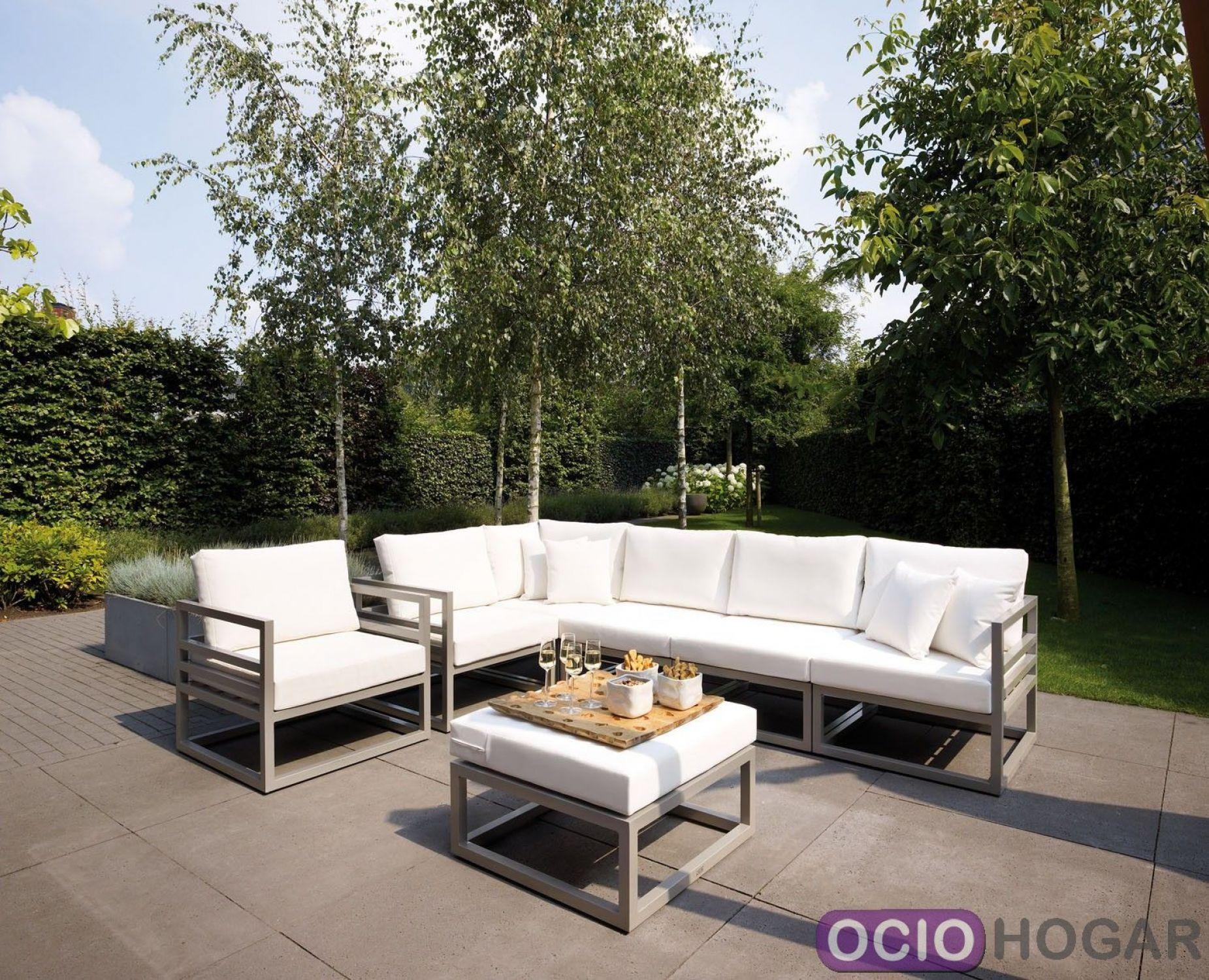Sof y mesa de jard n aluminio francia majestic garden for Sofa exterior aluminio blanco