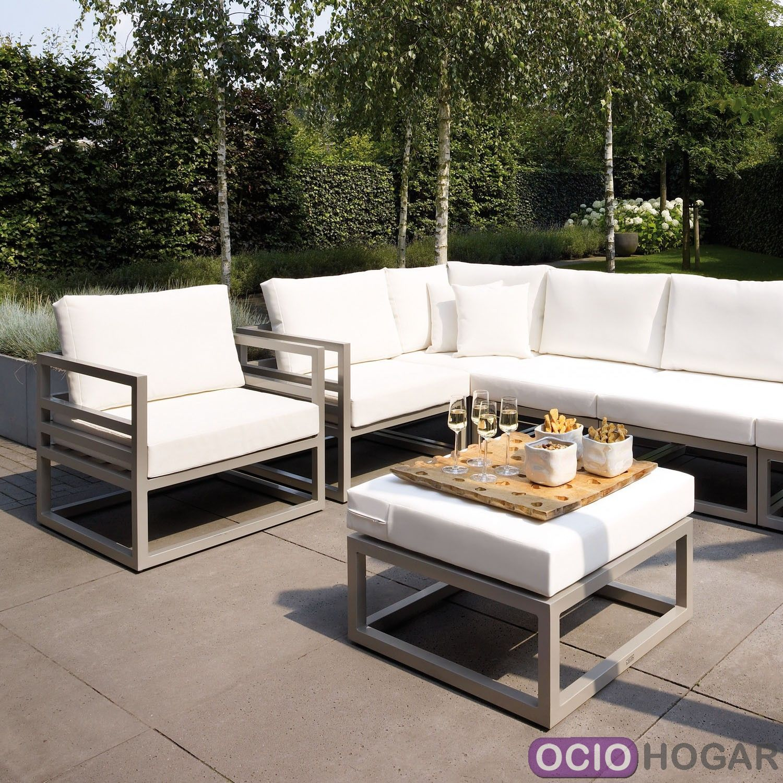 Sof y mesa de jard n aluminio francia majestic garden for Sofa exterior barato