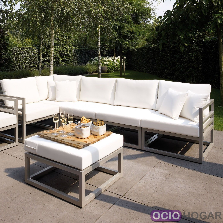 Sof y mesa de jard n aluminio francia majestic garden for Sofa modular jardin