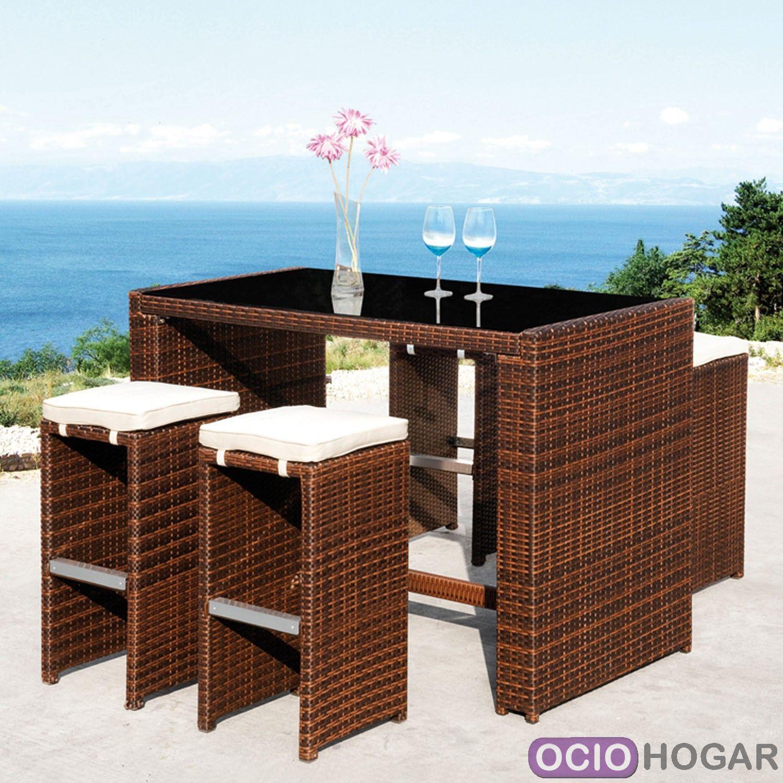 Set de bar cheers mesa alta y taburetes de majestic garden - Mesa alta con taburetes ...