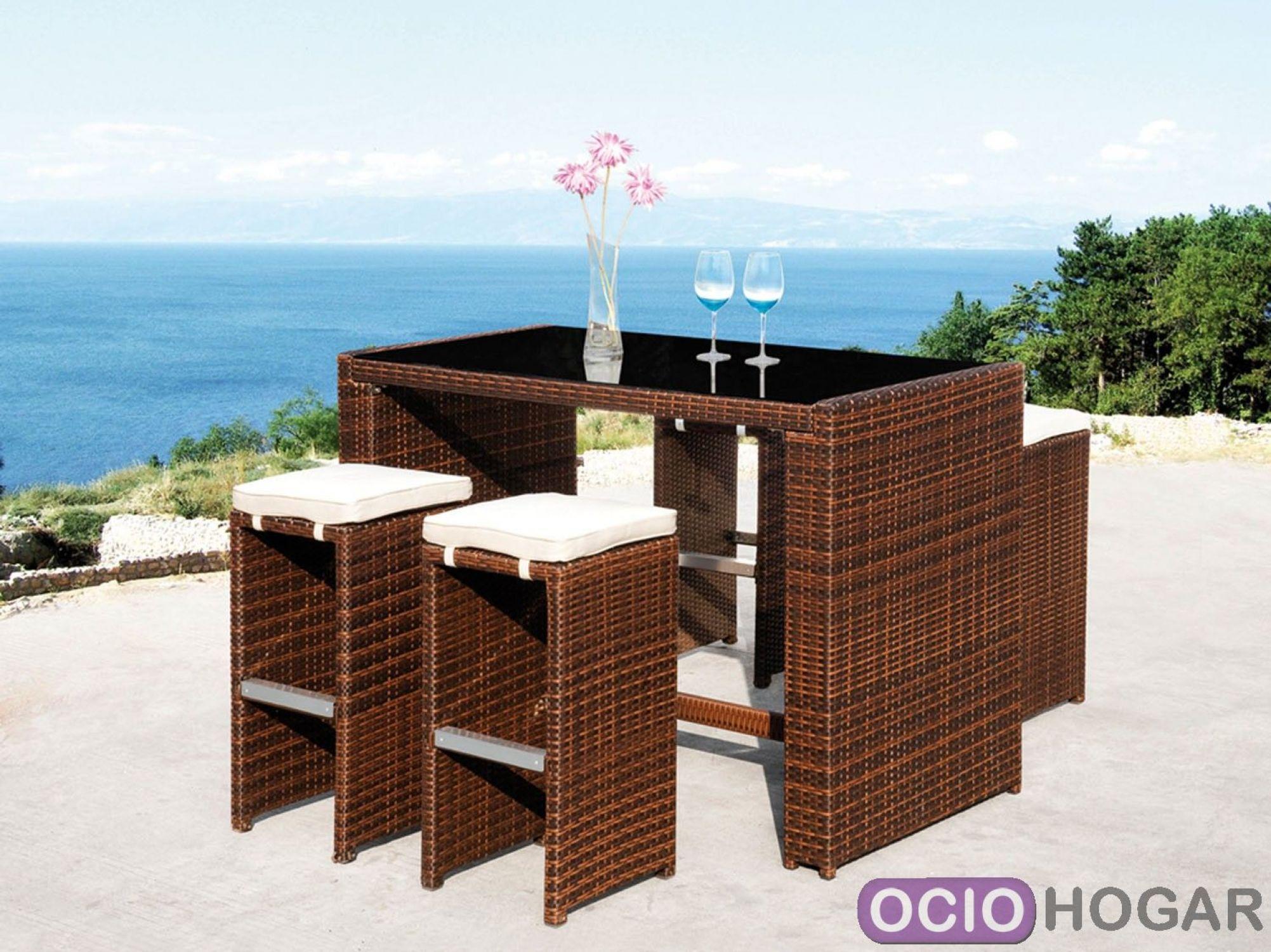 Set de bar cheers mesa alta y taburetes de majestic garden for Barras de bar para jardin