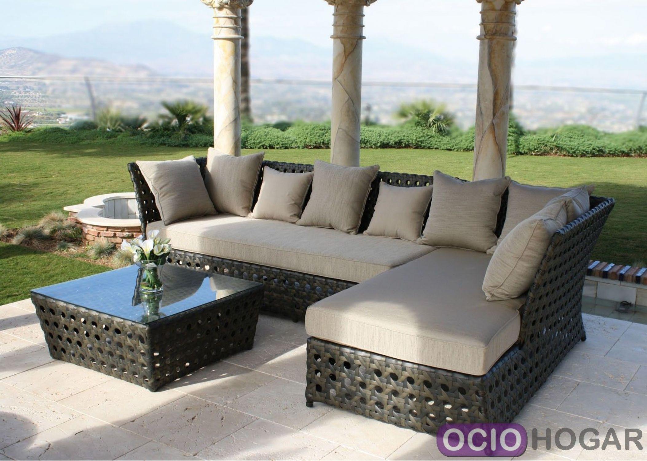 Conjunto sof s y mesa de centro tahit majestic garden for Sofa exterior aluminio blanco