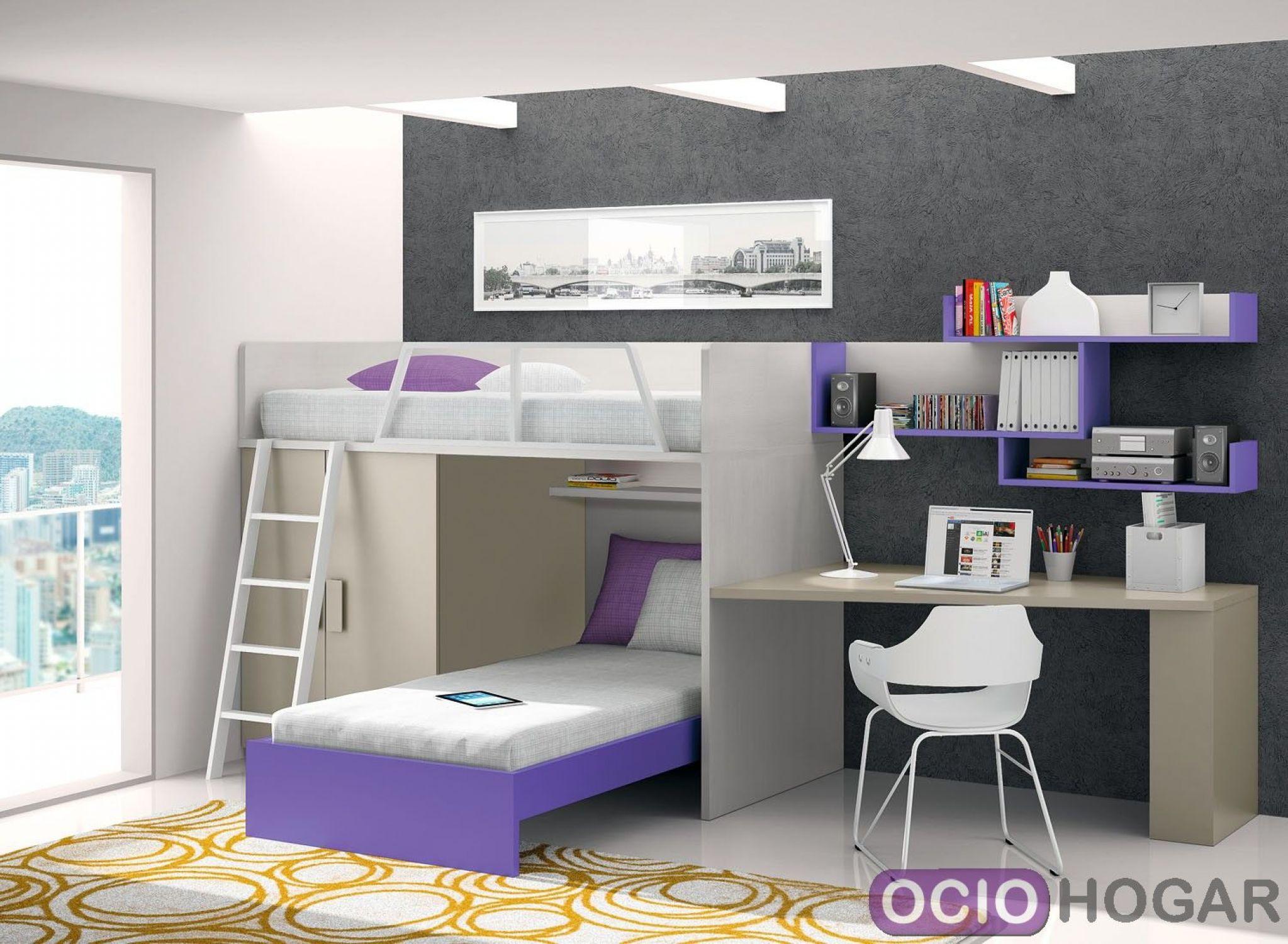 Dormitorio juvenil violet de dissery muebles infantiles - Dormitorio juvenil doble cama ...