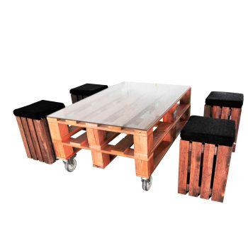 Mesa y taburetes Palet