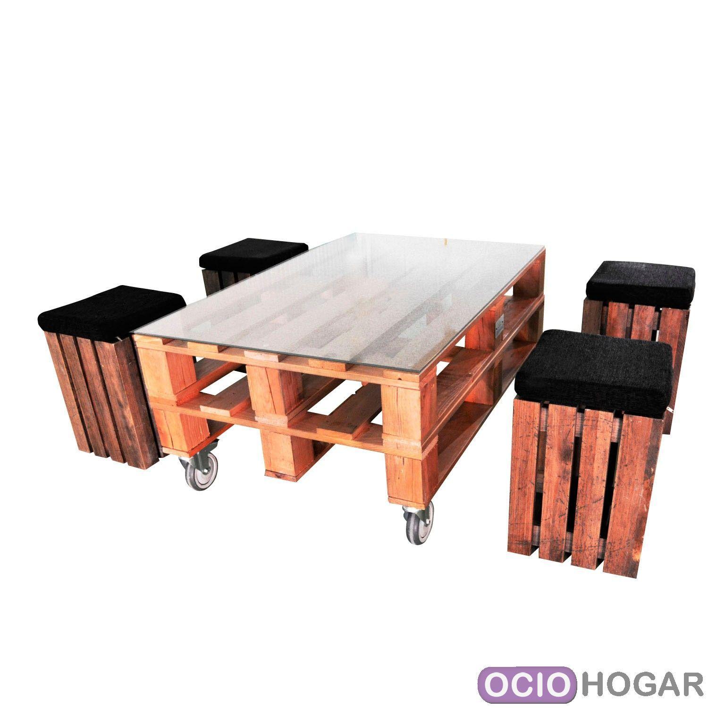 Ociohogar mesa de centro y taburetes palet de apyou - Mesa centro palet ...