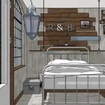 Proyecto industrial étnico  dormitorio principal