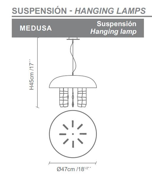 Diagrama lámpara de techo Medusa de Almerich