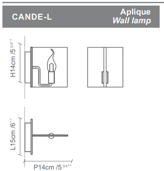Diagrama aplique de pared Cande-L de Almerich