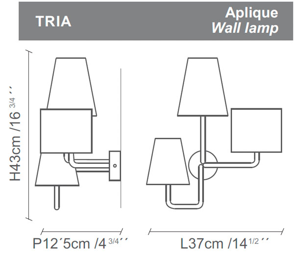Diagrama aplique de pared Tria de Almerich