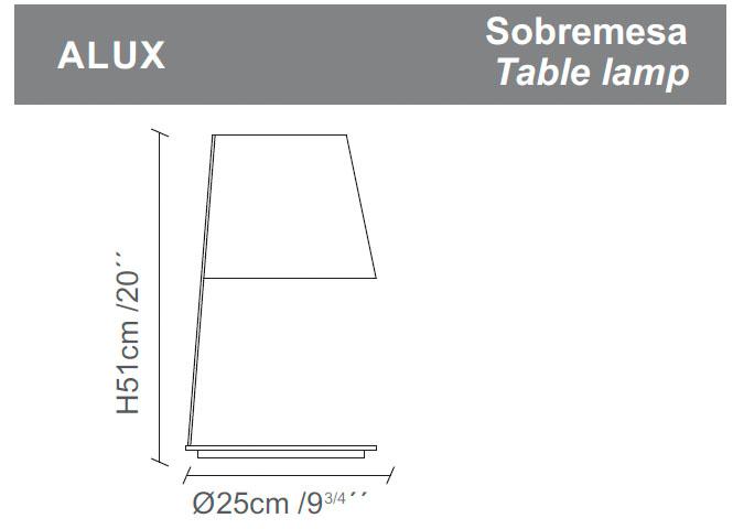 Diagrama lámpara de mesa Alux de Almerich