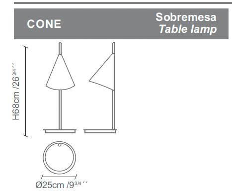 Diagrama lámpara de mesa Cone de Almerich
