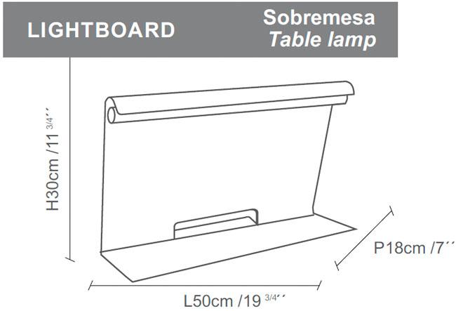 Diagrama lámpara de mesa Lightboard de Almerich