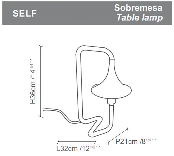 Diagrama lámpara de mesa Self de Almerich