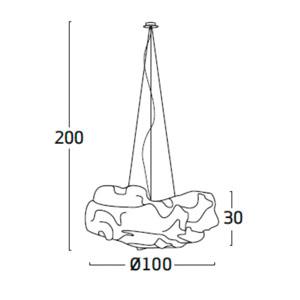 Diagrama lámpara de techo Nevo NE04 grande de Arturo Álvarez