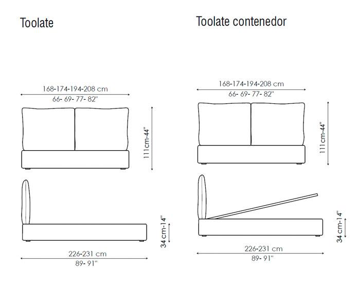 Diagrama cama Too Late de Bonaldo