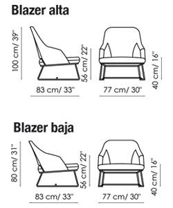 Diagrama con las medidas de la butaca Blazer de Bonaldo