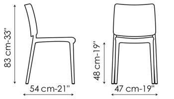 Diagrama con la única medida de la sillas Blues XO, Blues XOXO de Bonaldo