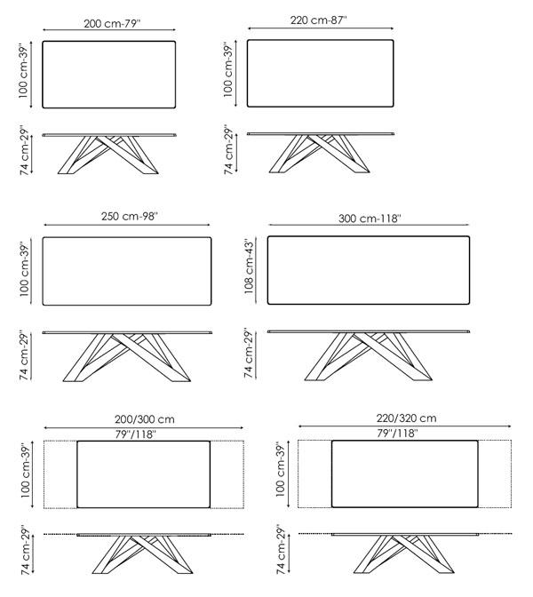 Diagrama de mesa Big Table de Bonaldo. Mesa original con gran personalidad.
