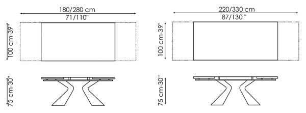 Diagrama de mesa de comedor Prora de Bonaldo. Original mesa cuya base recuerda a la proa de un barco.