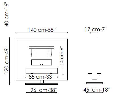 Diagrama de mueble porta-TV Panorama de Bonaldo