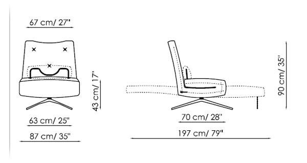 Diagrama de Sillón Cama Benny de Bonaldo. Versátil mueble que se puede usar como sillón, chaiselongue o cama.