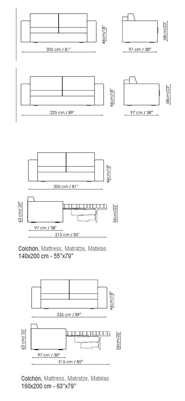 Diagrama del sofá cama de diseño en piel o ecopiel de Bonaldo