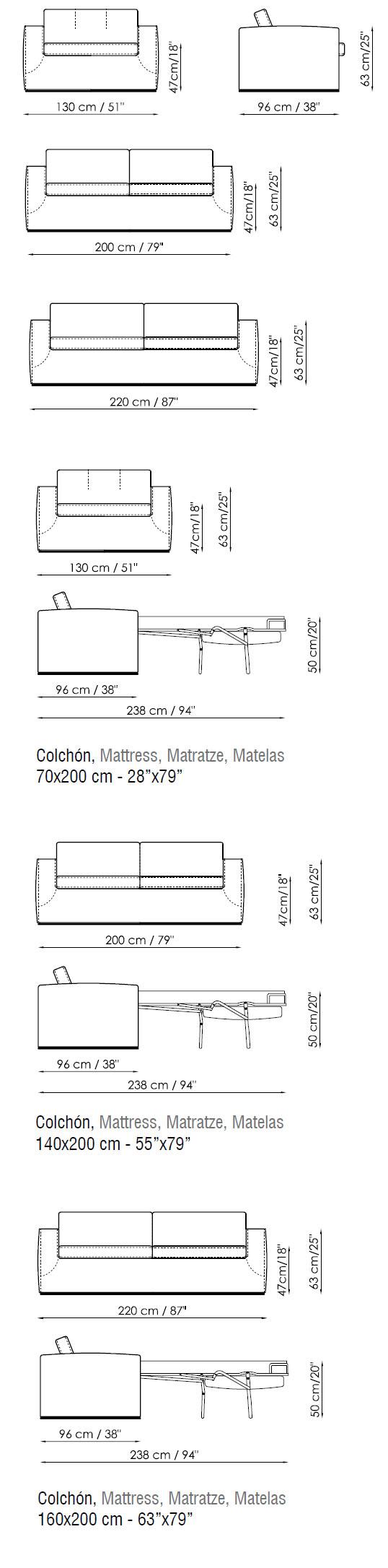 Diagrama del sofá cama Boston en piel de Bonaldo