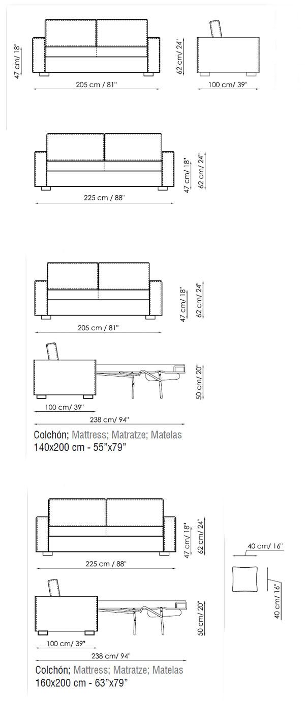 Diagrama del sofá cama Free de Bonaldo en piel o ecopiel