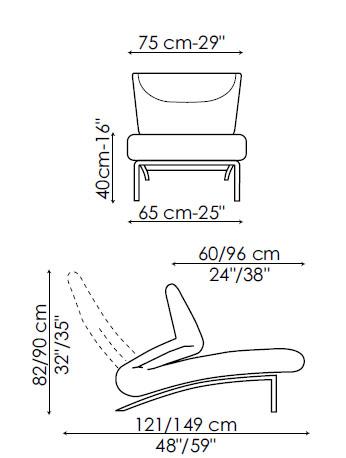 Diagrama de la butaca relax Berlín de Bonaldo. Esta butaca se convierte en chaiselongue con un fácil movimiento del respaldo.