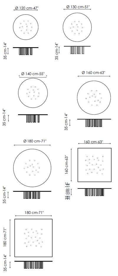 Diagrama de mesa de centro Mille Coffee de Bonaldo