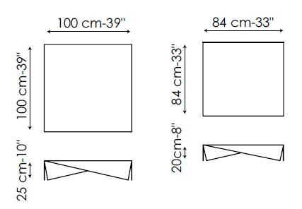 Diagrama de mesita de centro de diseño Voila de Bonaldo