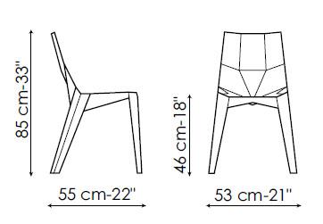 Diagrama de la silla de diseño Poly transparente o mate de Bonaldo