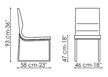 Diagrama de silla de piel de diseño Raja de Bonaldo, disponible para compra online