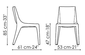 Diagrama de silla de piel Tip Toe de Bonaldo. Silla con líneas estilizadas disponible en versión con brazos o sin brazos.