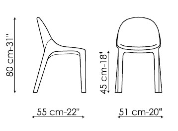 Diagrama de silla de piel Velvet de Bonaldo