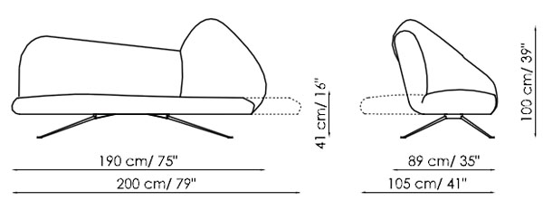 Diagrama de sofá cama de diseño en piel o ecopiel Papillon de Bonaldo