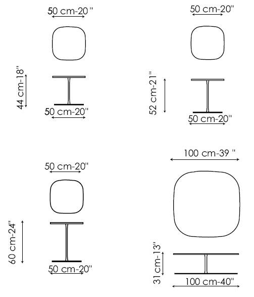 Diagramas de mesa auxiliar Miami de Bonaldo disponible en varios tamaños