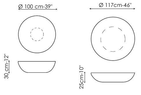 Diagramas de las mesas de centro Planet y Big Planet de Bonaldo. Existe una versión con luz.