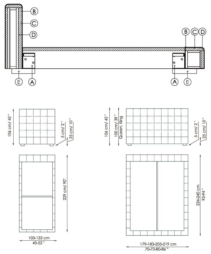 Medidas cama de diseño Squaring Alto Bonaldo