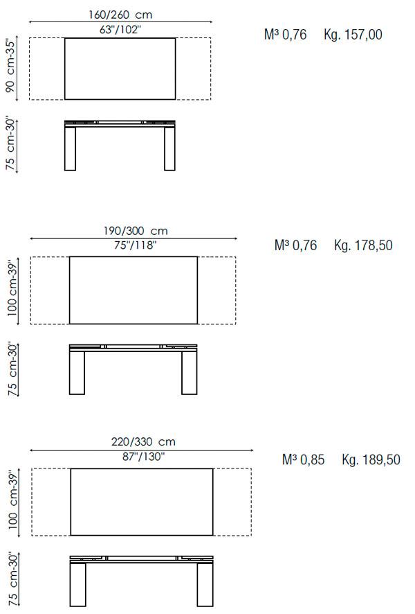 Mesa extensible tom bonaldo compra online - Medidas mesa de comedor ...