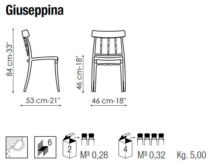 Medidas silla de comedor y jardín Giuseppina de Bonaldo