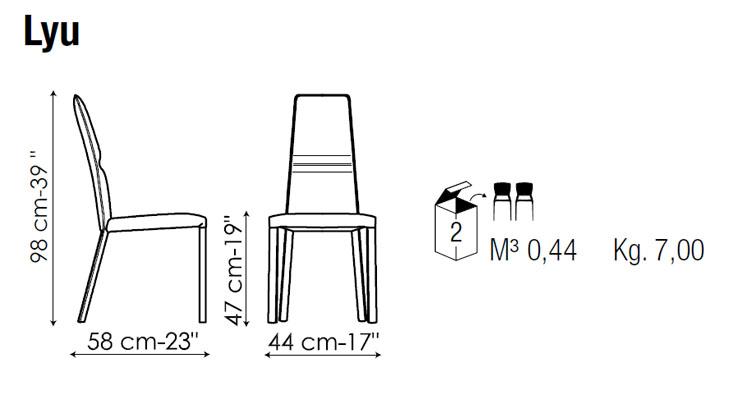 Medidas silla de comedor Lyu Bonaldo