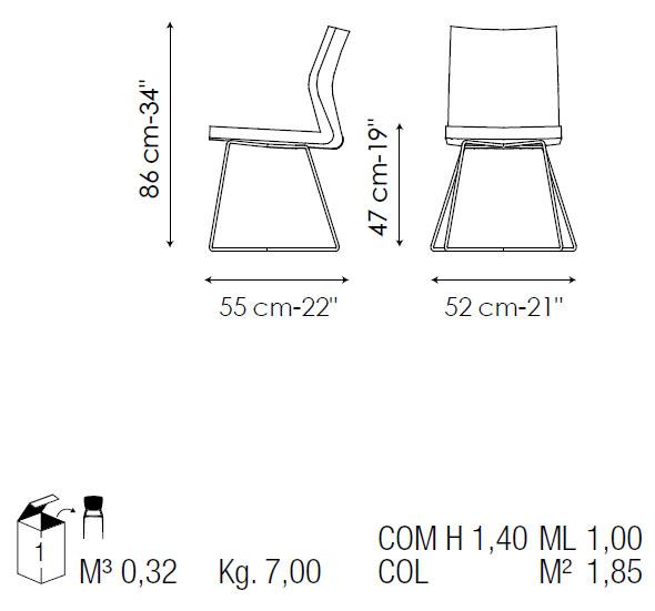 Silla de comedor de piel razor x bonaldo for Medidas silla comedor
