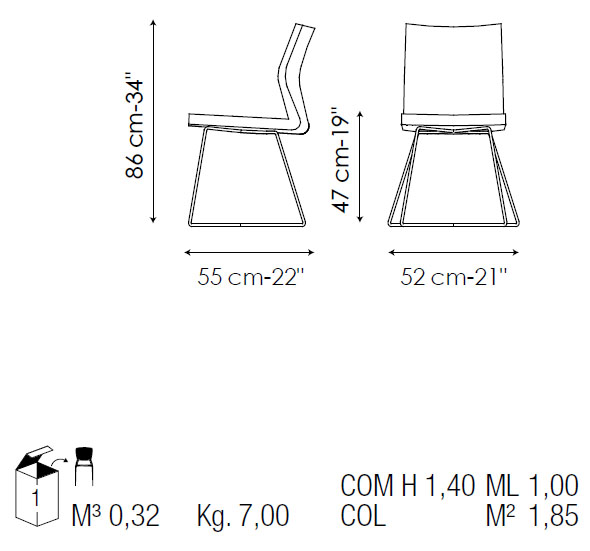 silla de comedor de piel razor x bonaldo